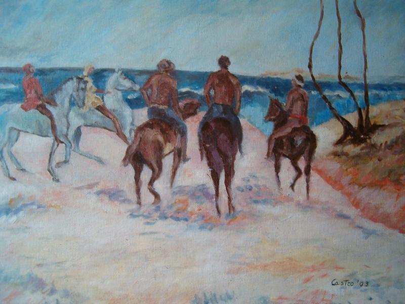 Cavalieri sulla spiaggia di P. Gauguin (copia)