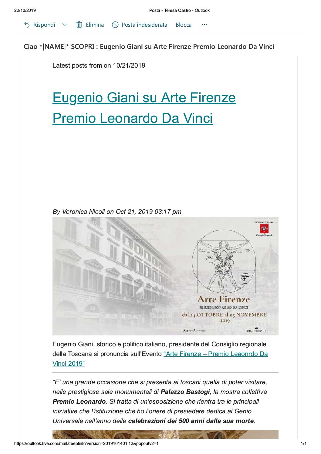 """Primo Premio Internazionale """"Gran Tour European"""" Arte Firenze Premio Leonardo da Vinci 2019"""